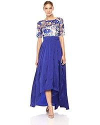 Adrianna Papell - Size Plus Rose Jacquard Fit And Flare With Matte Jersey Top Dress - Lyst
