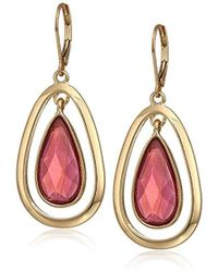 Anne Klein - Gold Tone Raspberry Stone Leverback Drop Earrings, Size: 0 - Lyst