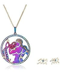 Betsey Johnson - Aquarius Zodiac Necklace And Earrings Set, Multi, One Size - Lyst