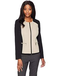 Kasper - Stretch Crepe Contrast Jacket With Zipper Detailing - Lyst