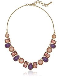 """Nine West - Gold-tone And Berry 16"""" Frontal Necklace, Size 0 - Lyst"""