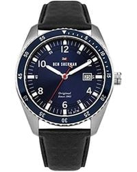 Ben Sherman - 'the Ronnie Sports' Quartz Stainless Steel And Leather Casual Watch, Color:black (model: Wbs107ub) - Lyst