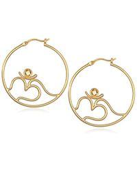 Satya Jewelry - S Citrine Gold Om Hoop Earrings, Yellow, One Size - Lyst