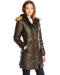 Vince Camuto - Waxy Parka With Faux-fur Trim - Lyst