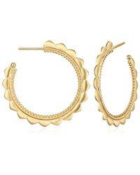Satya Jewelry - Gold Petal Hoop Earrings, Gold, One Size - Lyst