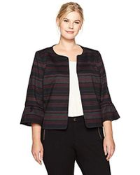 Nine West - Plus Size Striped Ponte Jacket With Ruffle Sleeves - Lyst