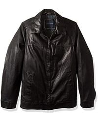 Tommy Hilfiger - Size Tall Smooth Lamb Touch Faux Leather Classic Laydown Collar James Dean Jacket - Lyst