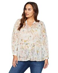 08e73fb2727 Lyst - Lucky Brand Plus Size Floral Peasant Blouse in Red