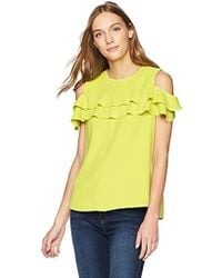 cf11f09c4dbccf Lyst - Ted Baker Hopee Cold Shoulder Frill Top in Green