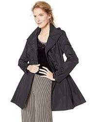 Calvin Klein - Double Breated Rain Coat With Pleated Skirt And Detachable Hood, - Lyst