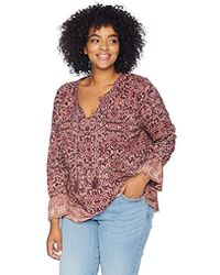 Lucky Brand - Plus Size Floral Border Print Top, - Lyst