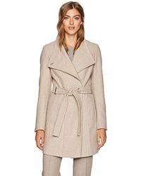 Calvin Klein - Wool Wrap Flare Coat And Toggle Neck Closure - Lyst