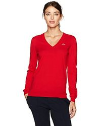 Lacoste - Classic Cotton V Neck Sweater - Lyst