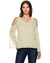 Kensie - Long Looped Swiss Dots Cold Shoulder Top - Lyst