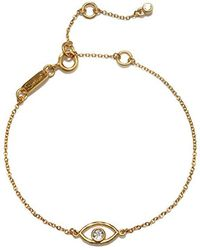 Satya Jewelry - Evil Eye Gold Charm Bracelet Adjustable, Gold, One Size - Lyst