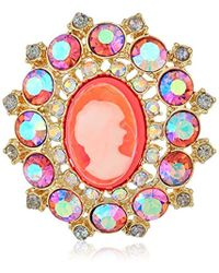 Betsey Johnson - S Granny Chic Bright Pink Cameo Brooches And Pin, One Size - Lyst