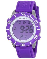 """Nautica - Unisex N09931g """"nsr 100"""" Fashion Digital Watch With Purple Silicone Band - Lyst"""