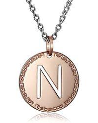 "Rebecca - ""word"" Rose Gold Over Bronze Letter ""n"" Necklace - Lyst"