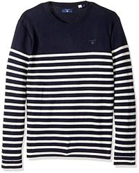 GANT - Breton Crew Sweater - Lyst