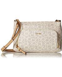 Calvin Klein - Key Item Monogram Multi Entry Crossbody (desert Taupe) Cross Body Handbags - Lyst