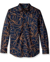 Perry Ellis - Long Sleeve Abstract Floral Print Shirt - Lyst