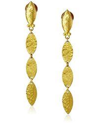 """Gurhan - """"willow"""" High-karat Gold Triple Leaf Drop Earrings, 1.88"""" - Lyst"""