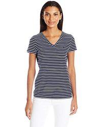 Nautica - Short Sleeve Stretch V Neck Stripe Tshirt - Lyst