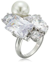 "Betsey Johnson - ""betsey Blue"" Cubic Zirconia Stone And Pearl Cluster Cocktail Ring Size 7 - Lyst"