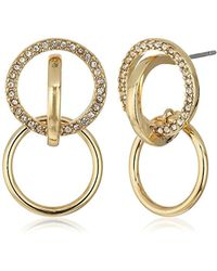 BCBGeneration - Pave Circle Post Hoop Earrings - Lyst