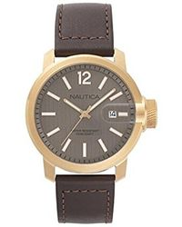 Nautica - 'sydney' Quartz Stainless Steel And Leather Casual Watch, Color:brown (model: Napsyd005) - Lyst