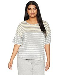 Kensie - Plus Size Striped Sweater Knit Tee - Lyst