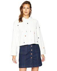 Pam & Gela - Crop Hoodie Sweatshirt With Embroidered Stars - Lyst