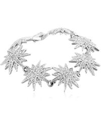 "Kenneth Jay Lane - Silver And Crystal Starburst Bracelet, 7.25"" - Lyst"
