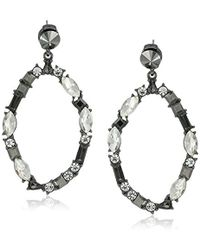 "Kenneth Cole - ""stone Cluster Metallic"" Mixed Metallic Faceted Stone Oval Gypsy Hoop Earrings - Lyst"