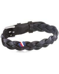 Tommy Hilfiger - Casual Core Herren Armband Edelstahl Silber/Leder Schwarz 19 cm - Lyst