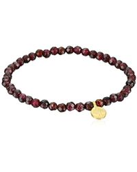 Satya Jewelry - Red Garnet Gold Plated Tree Of Life Stretch Bracelet - Lyst