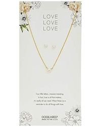 "Dogeared - Love Small Button Pearl Necklace And Pearl Earrings, 16"" + 2"" Extension - Lyst"