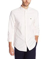 Lacoste - Long Sleeve Striped Oxford Shirt - Lyst