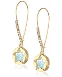 """Betsey Johnson - """"confetti"""" Shaky Faceted Stone Star Round Long Drop Earrings - Lyst"""