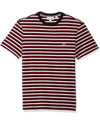 Lacoste - Short Sleeve Jersey Tee-with Chine Stripes - Lyst