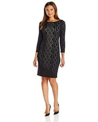 CALVIN KLEIN 205W39NYC - Petite 3/4 Sleeve Sweater Dress With Perferation - Lyst