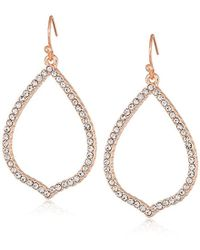 T Tahari - Essentials Pave Teardrop Hoop On Fish Wire Drop Earrings, Rose Gold, One Size - Lyst