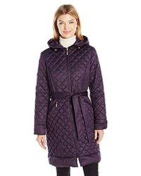Ellen Tracy - Outerwear Diamond Quilted Matte Satin Down Coat - Lyst