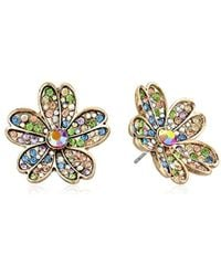 Betsey Johnson - S Multicolored Stone Flower Stud Earrings - Lyst