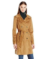 Guess - Faux Suede Trench Coat - Lyst