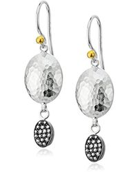 """Gurhan - """"jordan Pave"""" Sterling Silver And Diamond Double Drop Earrings (1/5cttw, I-j Color, I2 Clarity) - Lyst"""