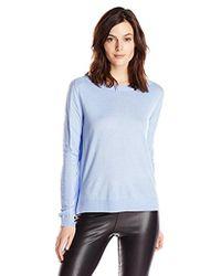 Halston - Chiffon-back Long-sleeve Sweater - Lyst
