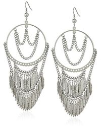 Guess - Feather Stone Drop Earrings - Lyst