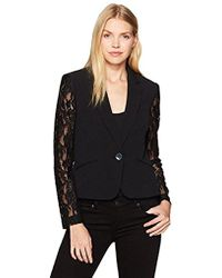 Nine West - Solid Crepe Jacket With Lace Sleeves - Lyst