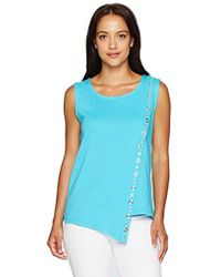 Rafaella - Petite Size Assymetrical Tank With Grommets - Lyst